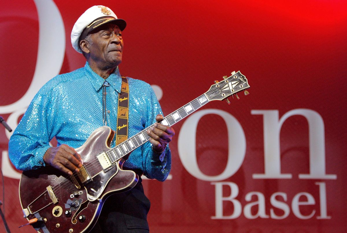 """FILE - In this Nov. 13, 2007 file photo, legendary U.S. musician Chuck Berry performs on stage at the Avo Session in Basel, Switzerland. Berry, rock 'n' roll's founding guitar hero and storyteller who defined the music's joy and rebellion in such classics as """"Johnny B. Goode,"""" ''Sweet Little Sixteen"""" and """"Roll Over Beethoven,"""" died Saturday, March 18, 2017, at his home west of St. Louis. He was 90. (Peter Klaunzer/Keystone via AP, File) (AP)"""