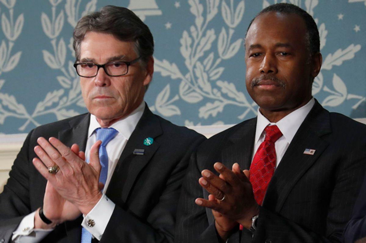 Rick Perry, Ben Carson   (AP/Pablo Martinez Monsivais)
