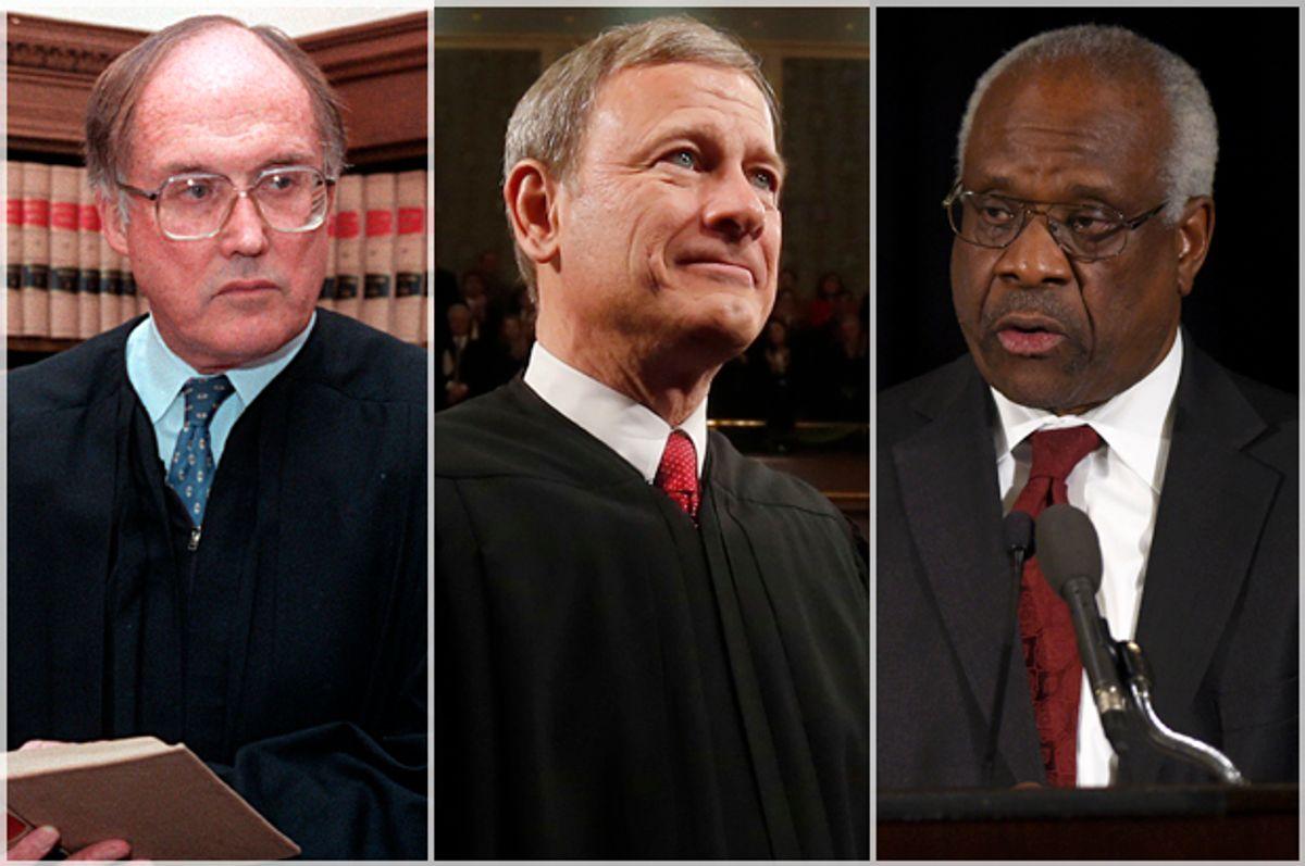 William Rehnquist; John Roberts; Clarence Thomas   (AP/Larry Downing/Susan Walsh)