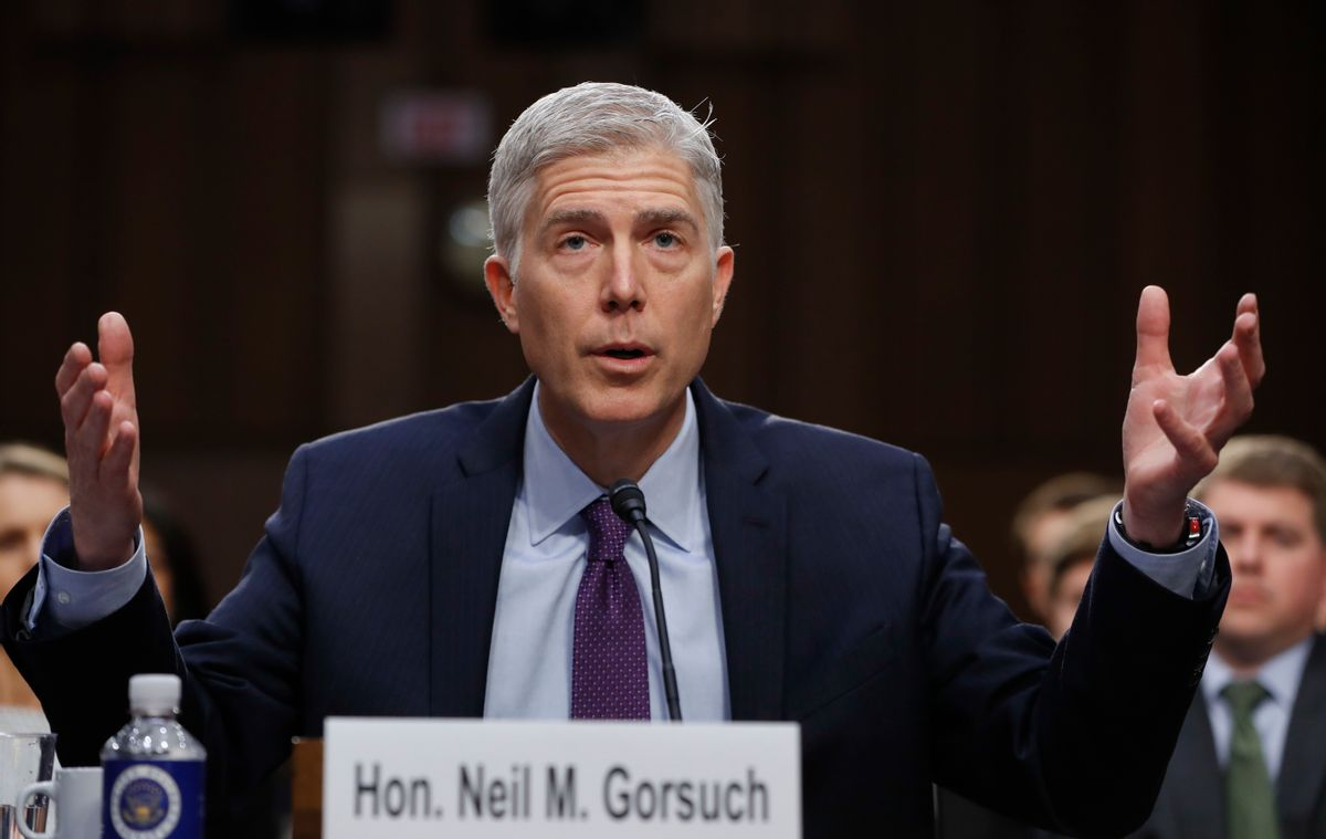 Supreme Court Justice nominee Neil Gorsuch speaks on Capitol Hill in Washington, Tuesday, March 21, 2017, during his confirmation hearing before the Senate Judiciary Committee. (AP Photo/Pablo Martinez Monsivais) (AP Photo/Pablo Martinez Monsivais)