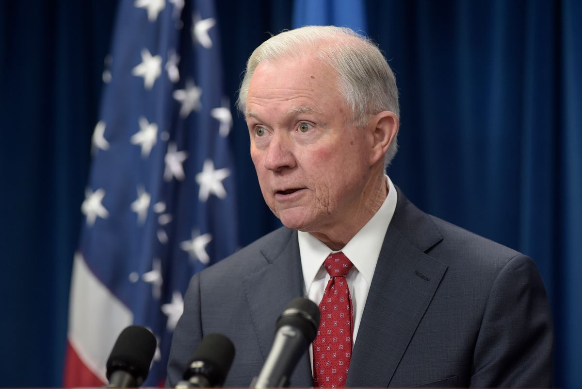 FILE - In this March 6, 2017 file photo, Attorney General Jeff Sessions speaks in Washington. Christopher Anders, an attorney with the American Civil Liberties Union has filed a complaint against Sessions with the Alabama State Bar over his testimony during his Senate confirmation process regarding contact he had with Russia. (AP Photo/Susan Walsh, File) (AP)