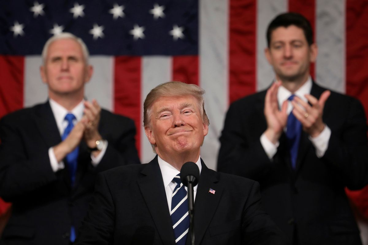 President Donald Trump addresses a joint session of Congress on Capitol Hill in Washington, Tuesday, Feb. 28, 2017, as Vice President Mike Pence and House Speaker Paul Ryan of Wis., applaud. (Jim Lo Scalzo/Pool Image via AP) (AP)