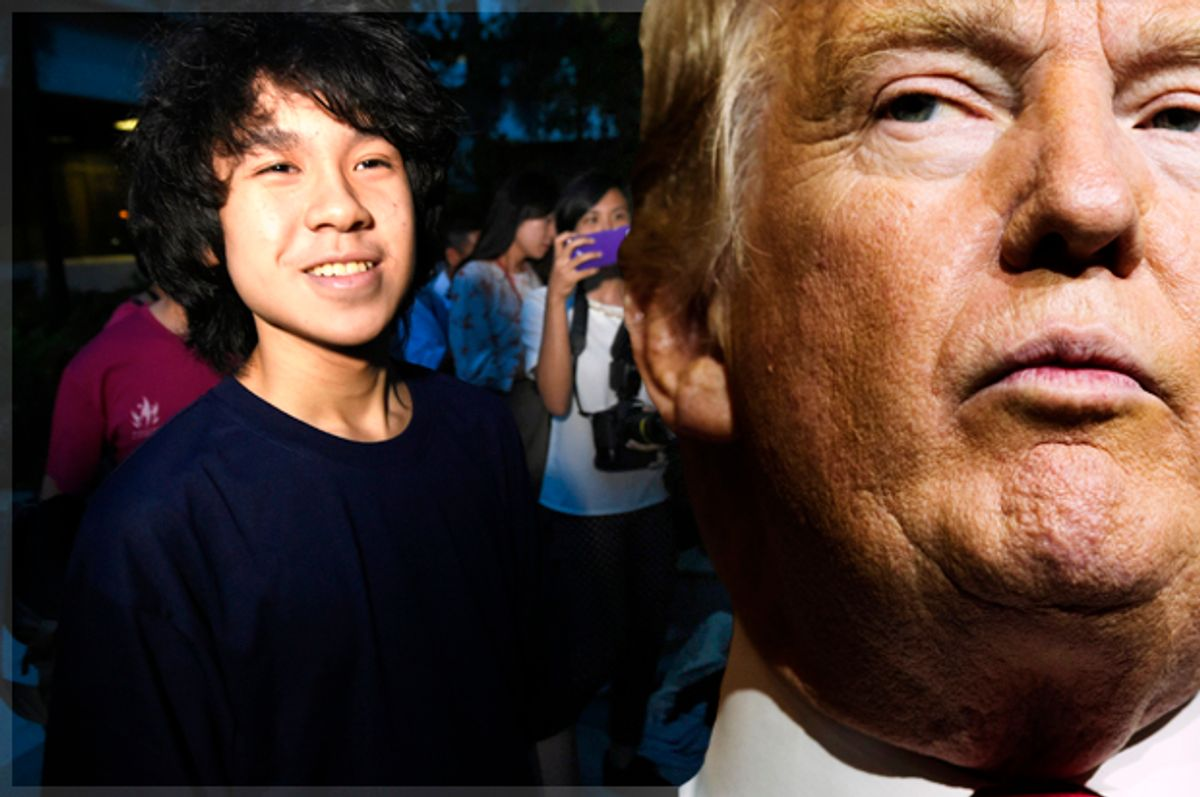 Amos Yee, 16, leaves the state court in Singapore on May 12, 2015. A Singaporean teenager was found guilty May 12 over an expletive-laden YouTube video attacking the city-state's late founding father Lee Kuan Yew and Christianity, in a case activists said amounted to censorship. AFP PHOTO / ROSLAN RAHMAN        (Photo credit should read ROSLAN RAHMAN/AFP/Getty Images) (AP/Evan Vucci/Getty/Roslan Rahman)
