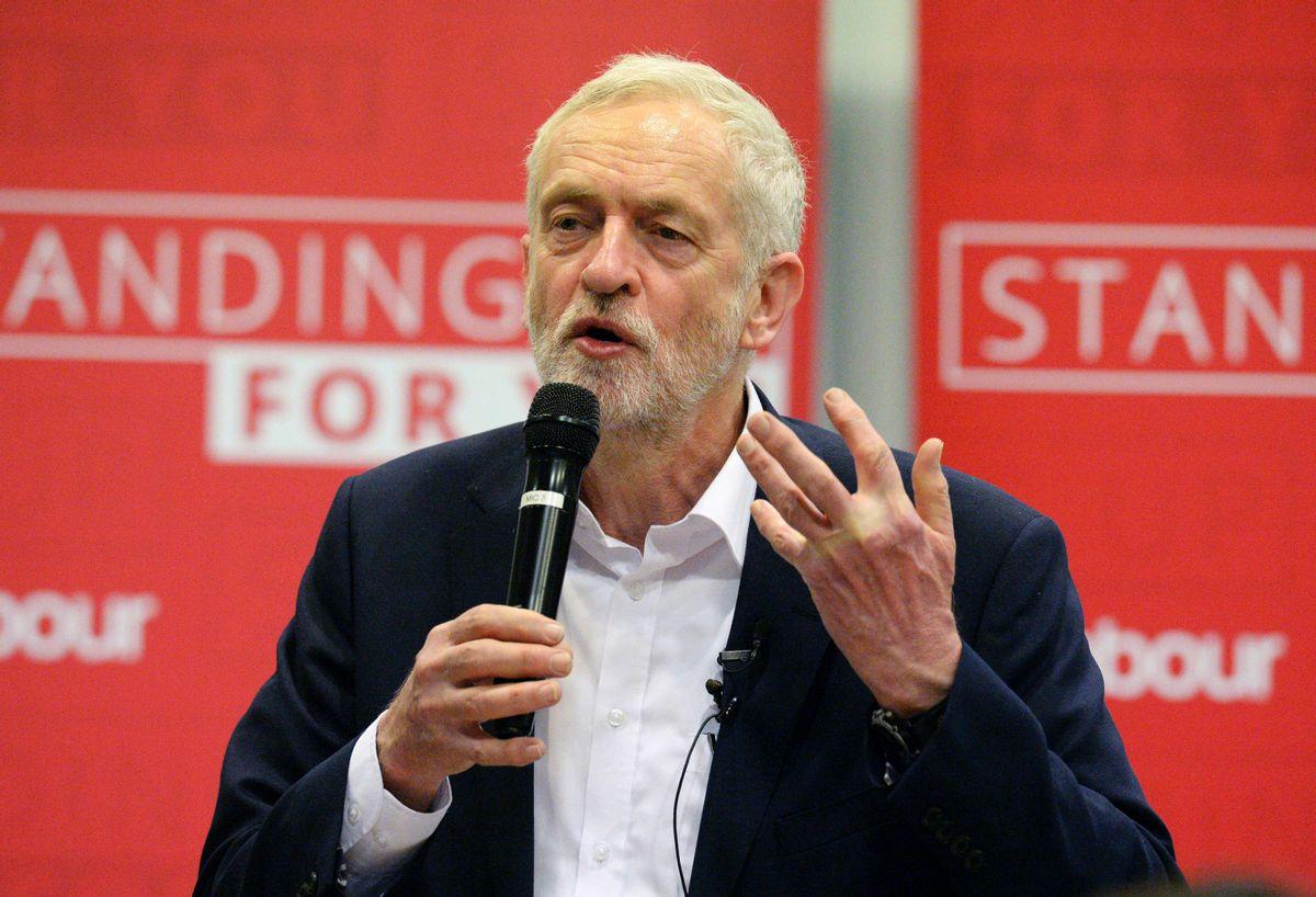 Labour Party leader Jeremy Corbyn speaks at a meeting in Birmingham, England. (Ben Birchall/PA via AP) (AP)