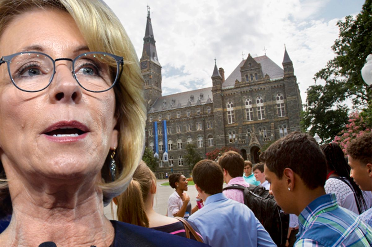 Betsy DeVos   (Getty/Mike Theiler/AP/Jacquelyn Martin/Photo montage by Salon)