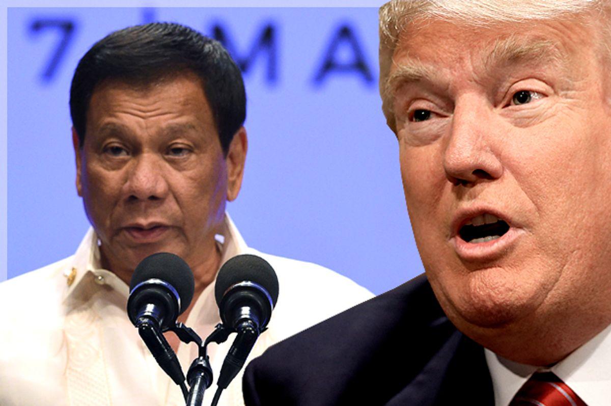 Rodrigo Duterte; Donald Trump   (Getty/Ted Aljibe/Reuters//Nati Harnik/Photo montage by Salon)