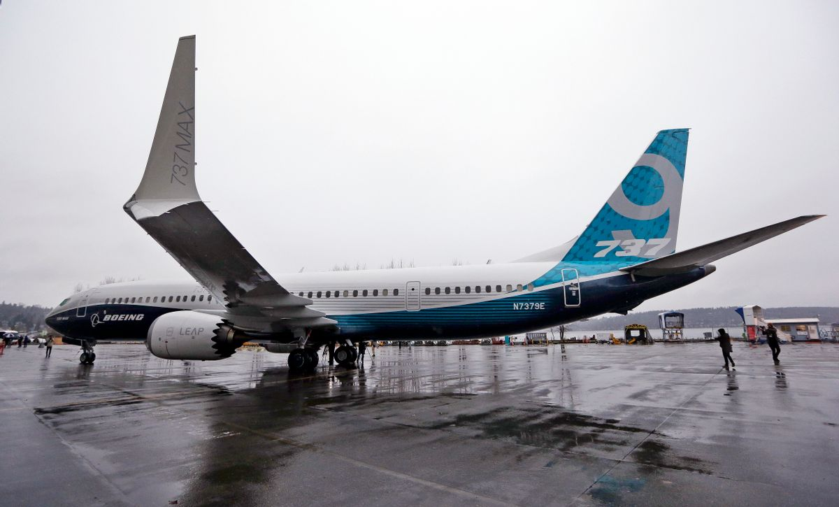 In this March 7, 2017 file photo, the first of the large Boeing 737 MAX 9 models, Boeing's newest commercial airplane, sits outside its production plant, in Renton, Wash. (AP Photo/Elaine Thompson, File) (AP)