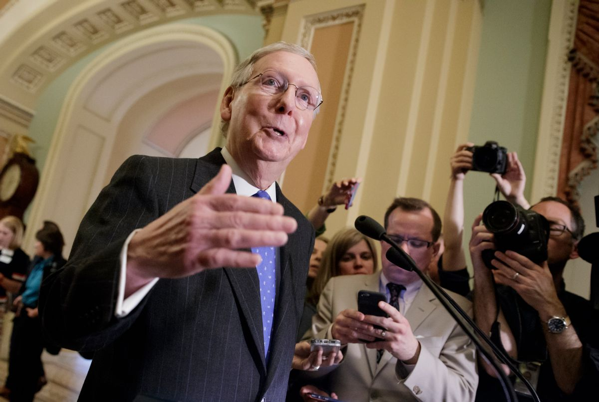 Senate Majority Leader Mitch McConnell of Ky. speaks to reporters on Capitol Hill in Washington, Tuesday, April 4, 2017, about the struggle to move Supreme Court nominee Neil Gorsuch toward a final up-or-down vote on the Senate floor. () (AP Photo/J. Scott Applewhite)