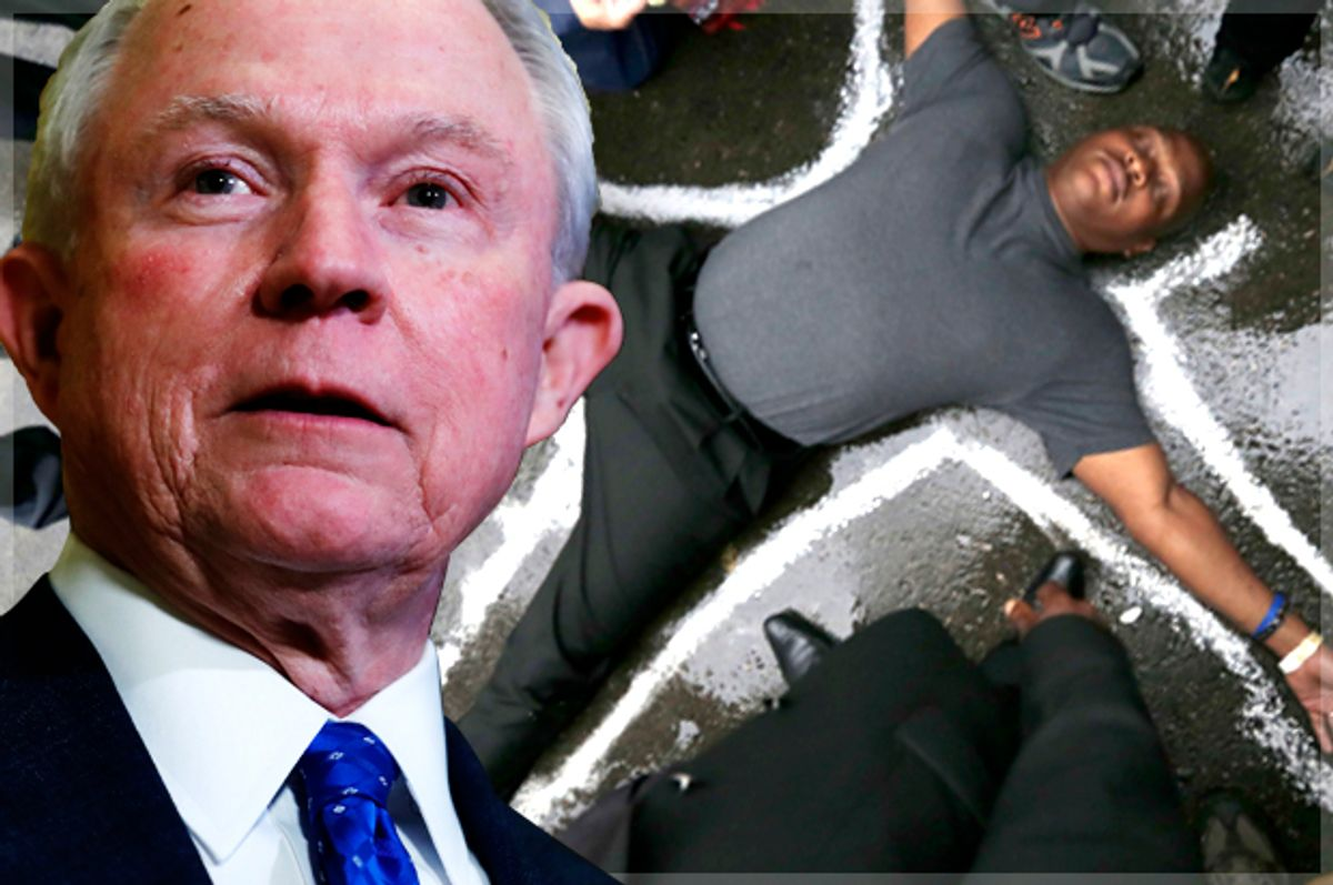 In this photo taken Nov. 17, 2016, Sen. Jeff Sessions, R-Ala. speaks to media at Trump Tower in New York. President-elect Donald Trump has picked Sessions for the job of attorney general. (AP Photo/Carolyn Kaster) (AP/Carolyn Kaster/Charles Rex)
