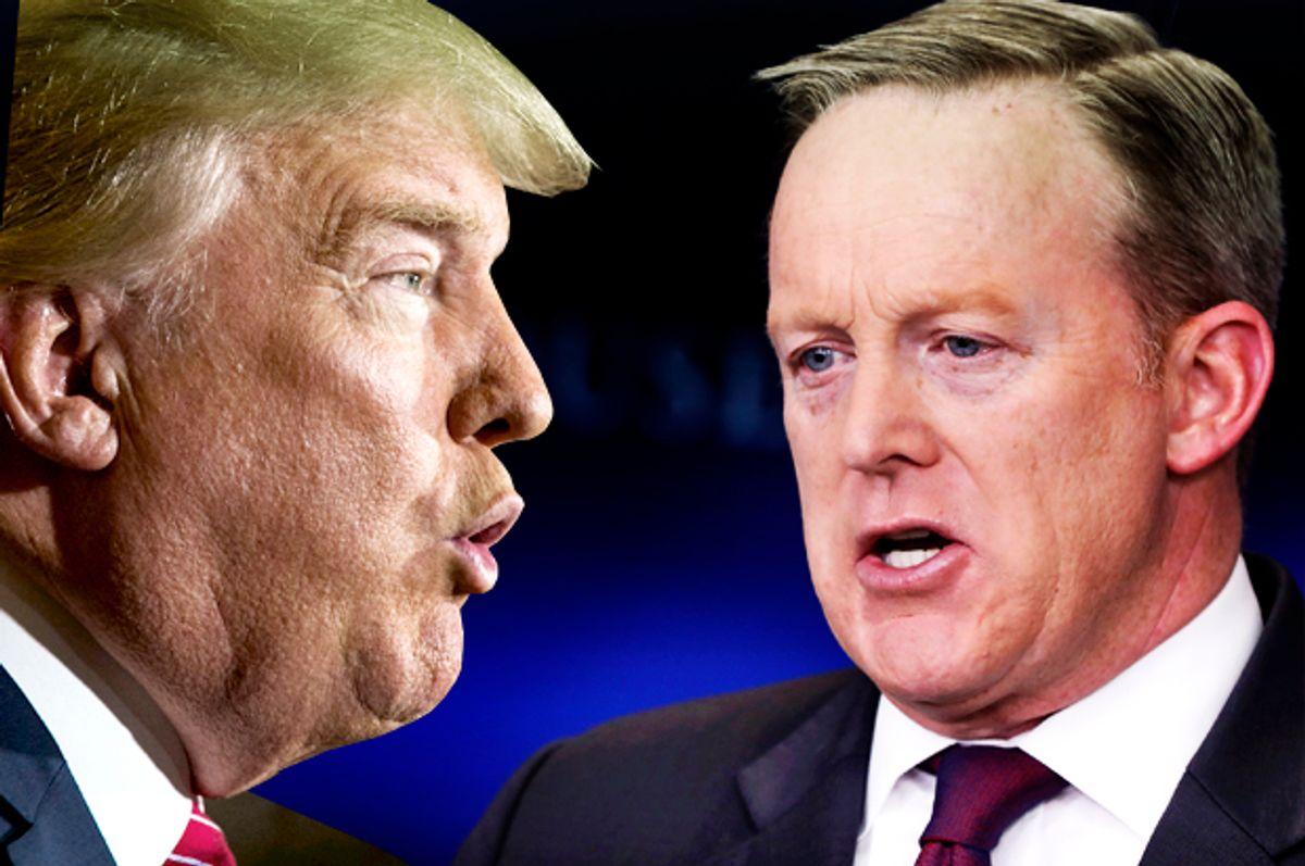 Donald Trump; Sean Spicer   (Reuters/Lucas Jackson/Getty/Aaron P. Bernstein/Photo montage by Salon)