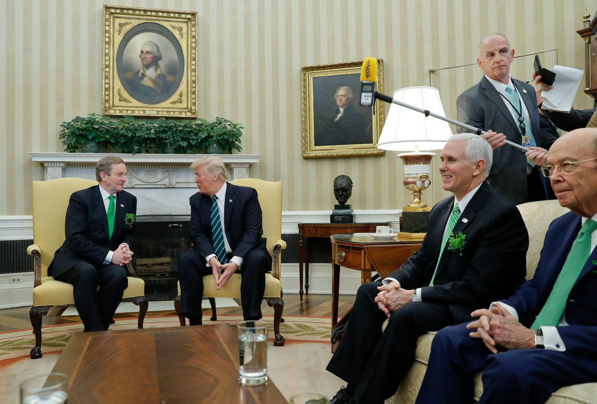 Keith Schiller, director of Oval Office operations, standing, left, watches as President Donald Trump meets with Irish Prime Minister Enda Kenny in the Oval Office  (AP Photo/Pablo Martinez Monsivais, File)