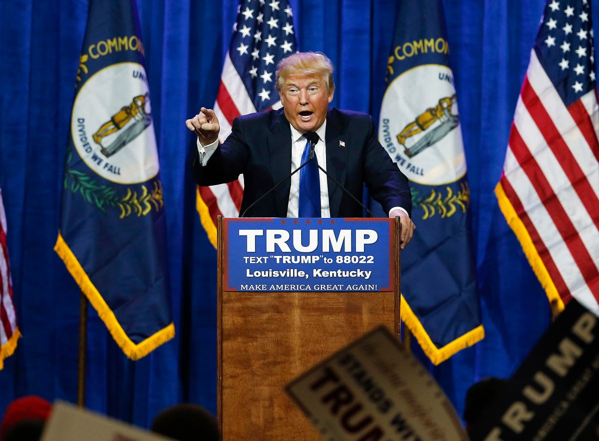 FILE - In this March 1, 2016 file photo, Republican presidential candidate Donald Trump speaks during a rally in Louisville, Ky. On Friday, March 31, 2017, a federal judge rejected Trump's free speech defense against a lawsuit accusing him of inciting violence against protesters during his campaign. (AP Photo/John Bazemore, File) (Associated Press)