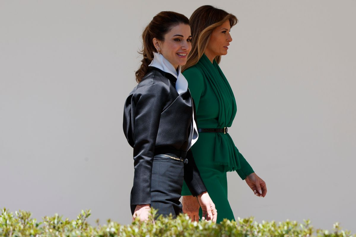 First lady Melania Trump walks with Queen Rania of Jordan at the White House in Washington, Wednesday, April 5, 2017. (AP Photo/Evan Vucci) (AP)