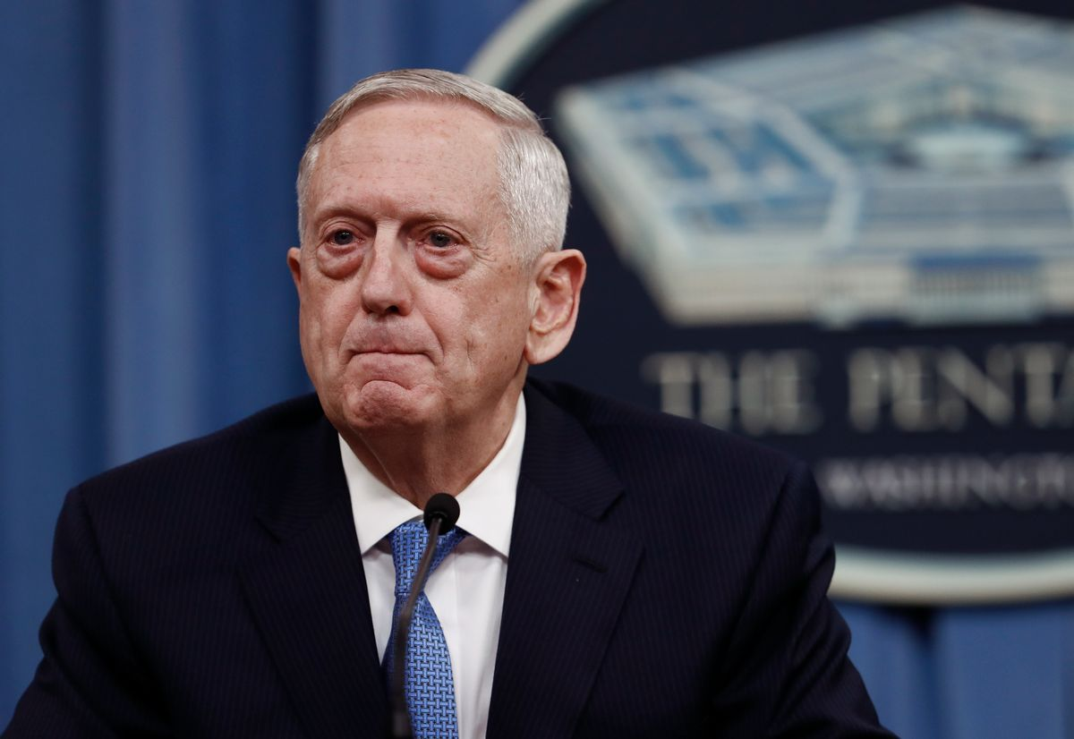 Defense Secretary Jim Mattis pauses during a news conference at the Pentagon, Tuesday, April 11, 2017. Mattis said the campaign against the Islamic State group is still the main focus of the U.S. in Syria and remains on track. (AP Photo/Carolyn Kaster) (AP)