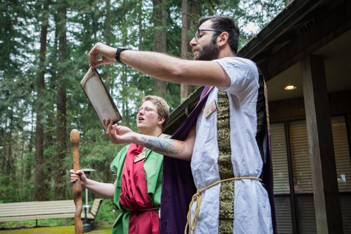 Goddess Fortuna Ritual hosted by the Columbia Grove, A Druid Fellowship, honoring Fortuna, Roman goddess of fortune, prosperity, offerings of incense and flowers, Druid, (Katharine Kimball Photography?Narratively)