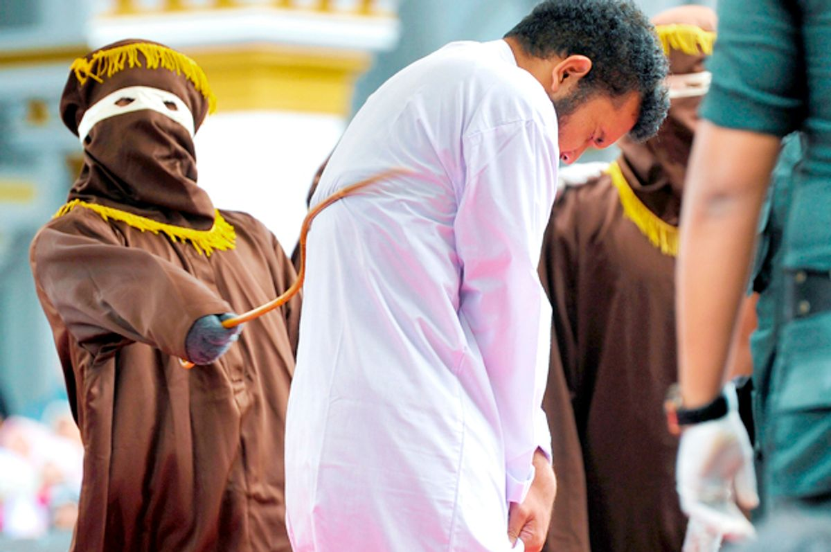 An Indonesian man being publicly caned. (Getty/Chaideer Mahyuddin)