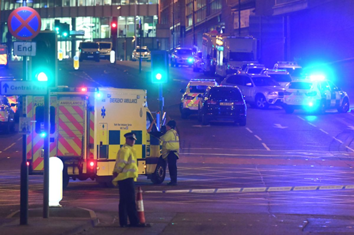 Emergency response vehicles arrive at the scene of an explosion during a concert by Ariana Grande in Manchester, May 23, 2017.    (Getty/Paul Ellis)