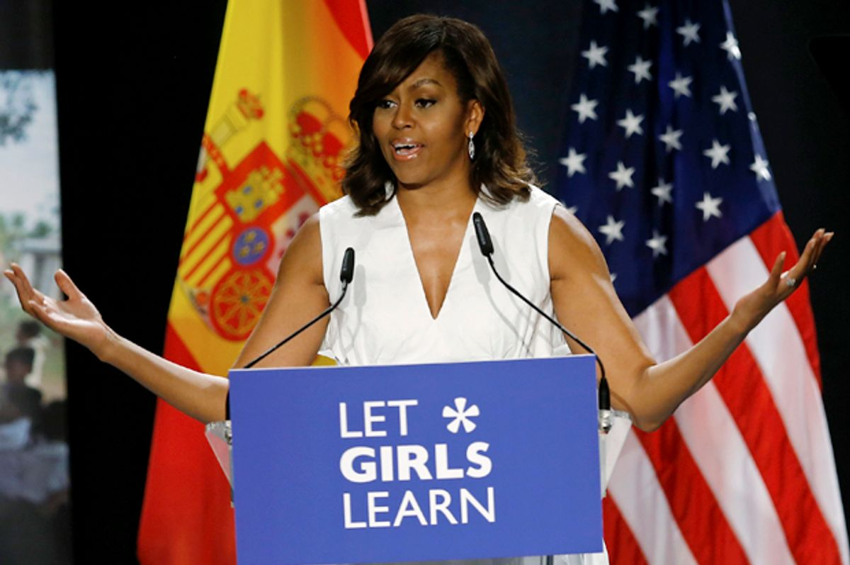 """Michelle Obama gives a speech on her """"Let Girls Learn"""" initiative to a group of girls and young women in Madrid, Spain, June 30, 2016.   (AP/Francisco Seco)"""