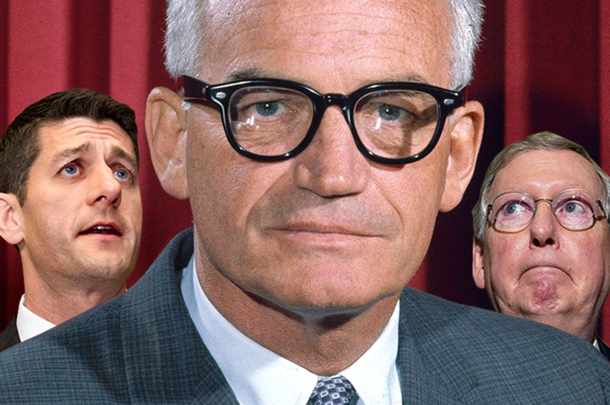 Paul Ryan; Barry Goldwater; Mitch McConnell   (AP/Getty/Photo montage by Salon)