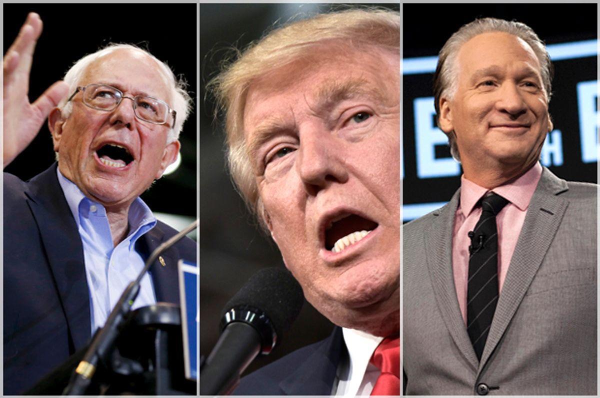 Bernie Sanders; Donald Trump; Bill Maher   (Reuters/Scott Audette/AP/Janet Van Ham/Getty/Mandel Ngan)