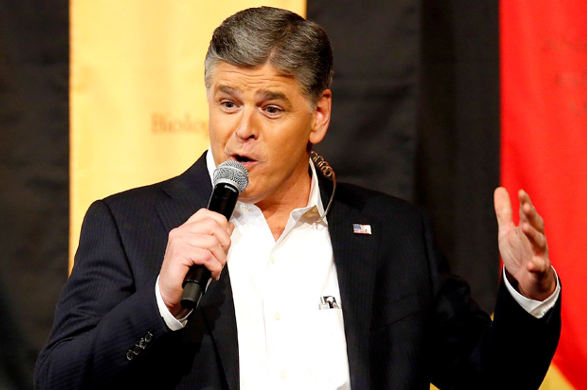 """FILE - In this March 18, 2016, file photo, Fox News Channel's Sean Hannity speaks during a campaign rally for Republican presidential candidate, Sen. Ted Cruz, R-Texas, in Phoenix. Veteran newsman Ted Koppel told Fox News host Sean Hannity that he is """"bad for America"""" in an interview that aired on CBS' """"Sunday Morning"""" that quickly became a trending topic on social media Sunday, March 26, 2017. (AP Photo/Rick Scuteri, File) (AP)"""