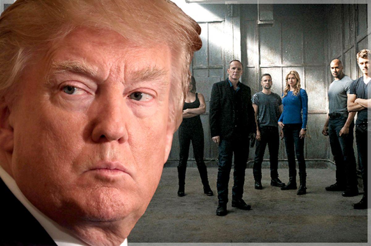 "Donald Trump; Stars of ""Marvel's Agents of S.H.I.E.L.D"" (Getty/Chip Somodevilla/ABC/Kurt Iswarienkio)"