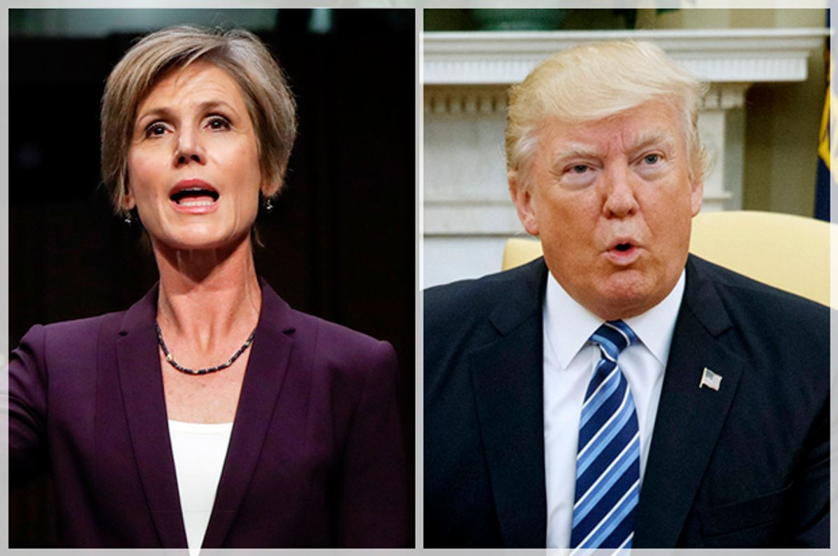 Sally Yates; Donald Trump   (AP/Pablo Martinez Monsivais/Evan Vucci)