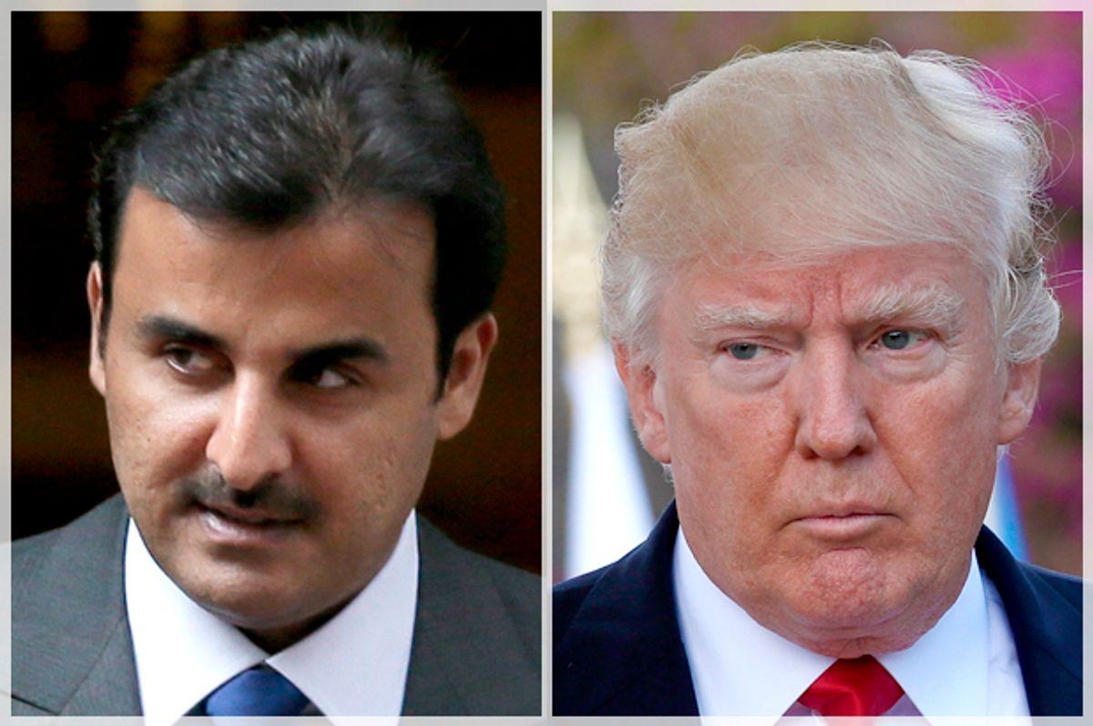 Emir of Qatar Tamim bin Hamad Al Thani; Donald Trump   (AP/Tim Ireland/Getty/Sean Gallup)
