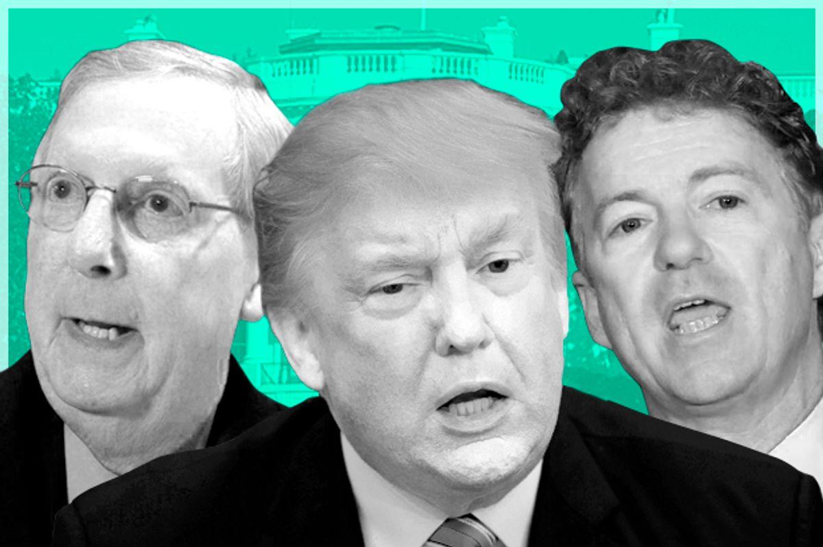 Mitch McConnell; Donald Trump; Rand Paul (AP//Evan Vucci/Timothy D. Easley/Getty/Molly Riley/Salon)
