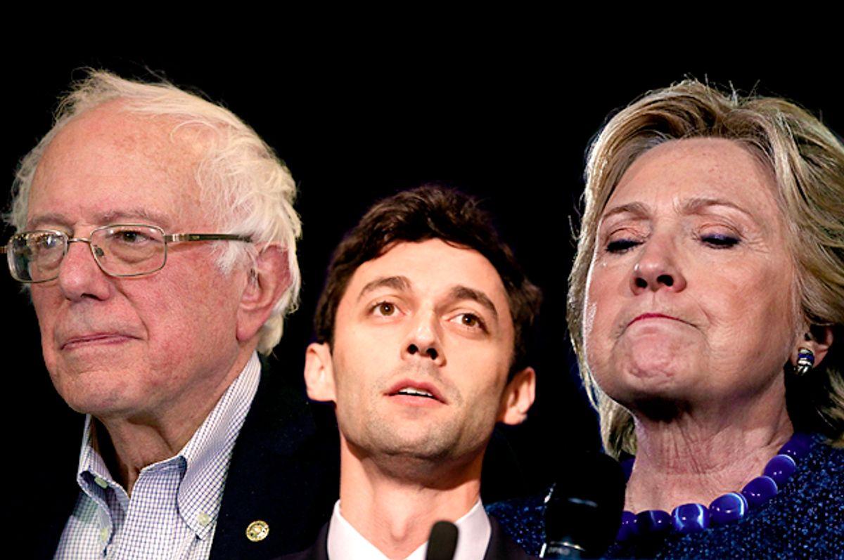 Bernie Sanders; Jon Ossoff; Hillary Clinton   (Getty/Alex Wong/Joe Raedle/Justin Sullivan/Salon)
