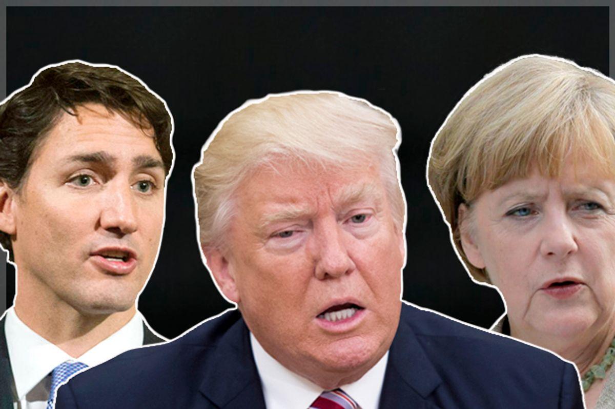 Justin Trudeau; Donald Trump; Angela Merkel (AP/Graham Hughes/Efrem Lukatsky/Getty/Molly Riley)