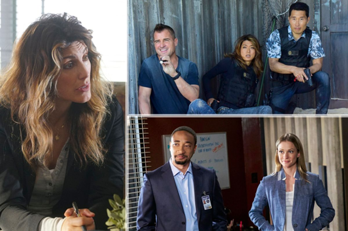 Jennifer Esposito in NCIS; George Eads, Grace Park, Daniel Dae Kim in Hawaii Five-0; Damon Gupton and A.J. Cook in Criminal Minds (CBS)