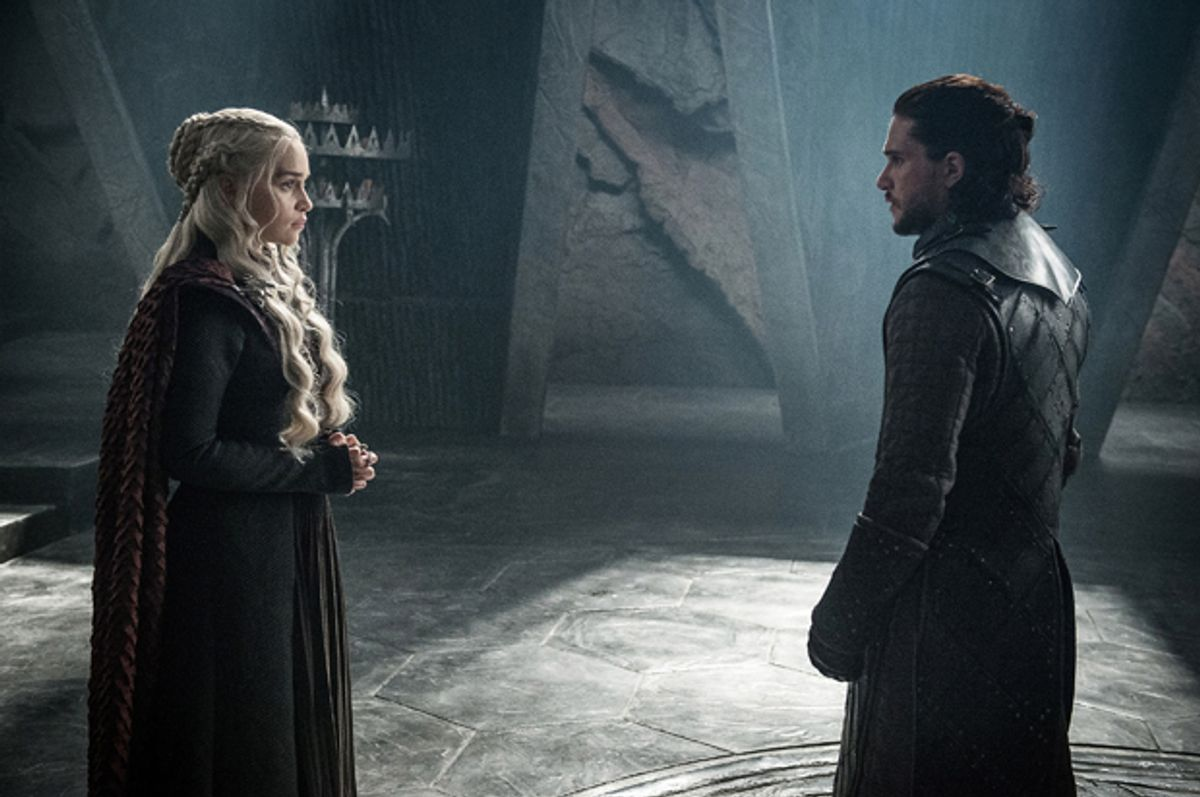 "Emilia Clarke as Daenerys Targaryen and Kit Harington as Jon Snow in ""Game of Thrones"" (HBO/Helen Sloan)"