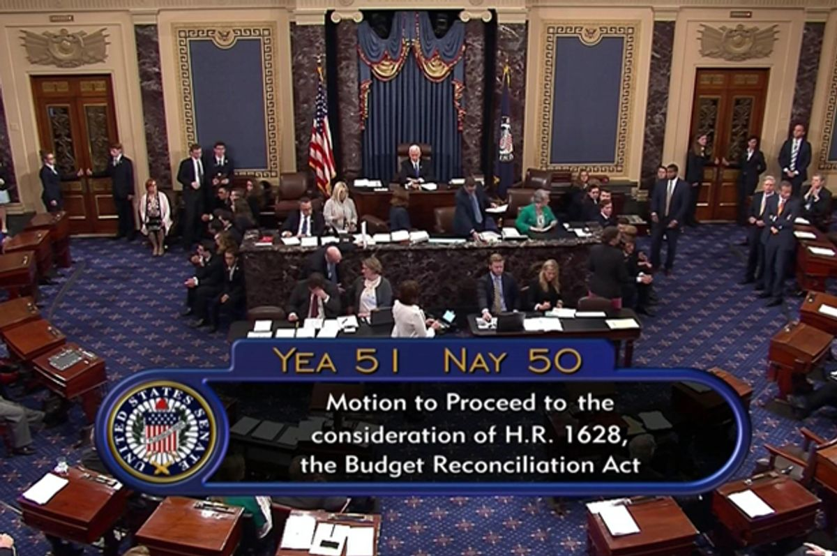 The final Senate vote, with Vice President Mike Pence's vote, to start debate to tear down much of the Obama health care law. (C-SPAN2 via AP)