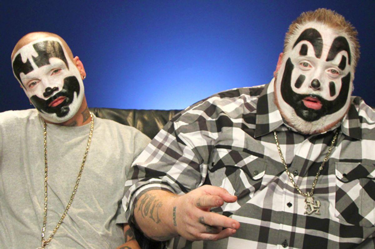 Joseph Utsler (Shaggy 2 Dope) l and  Joseph Bruce, (Violent J) from Insane Clown Posse (AP/John Carucci)