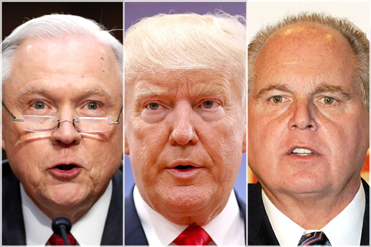 Jeff Sessions; Donald Trump; Rush Limbaugh   (AP/Alex Brandon/Getty/Sean Gallup/Ethan Miller)