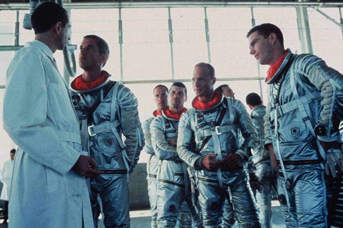 "Ed Harris, Lance Henriksen, Dennis Quaid, Scott Glenn, Charles Frank, Scott Paulin, and Fred Ward in ""The Right Stuff"" (Warner Bros.)"