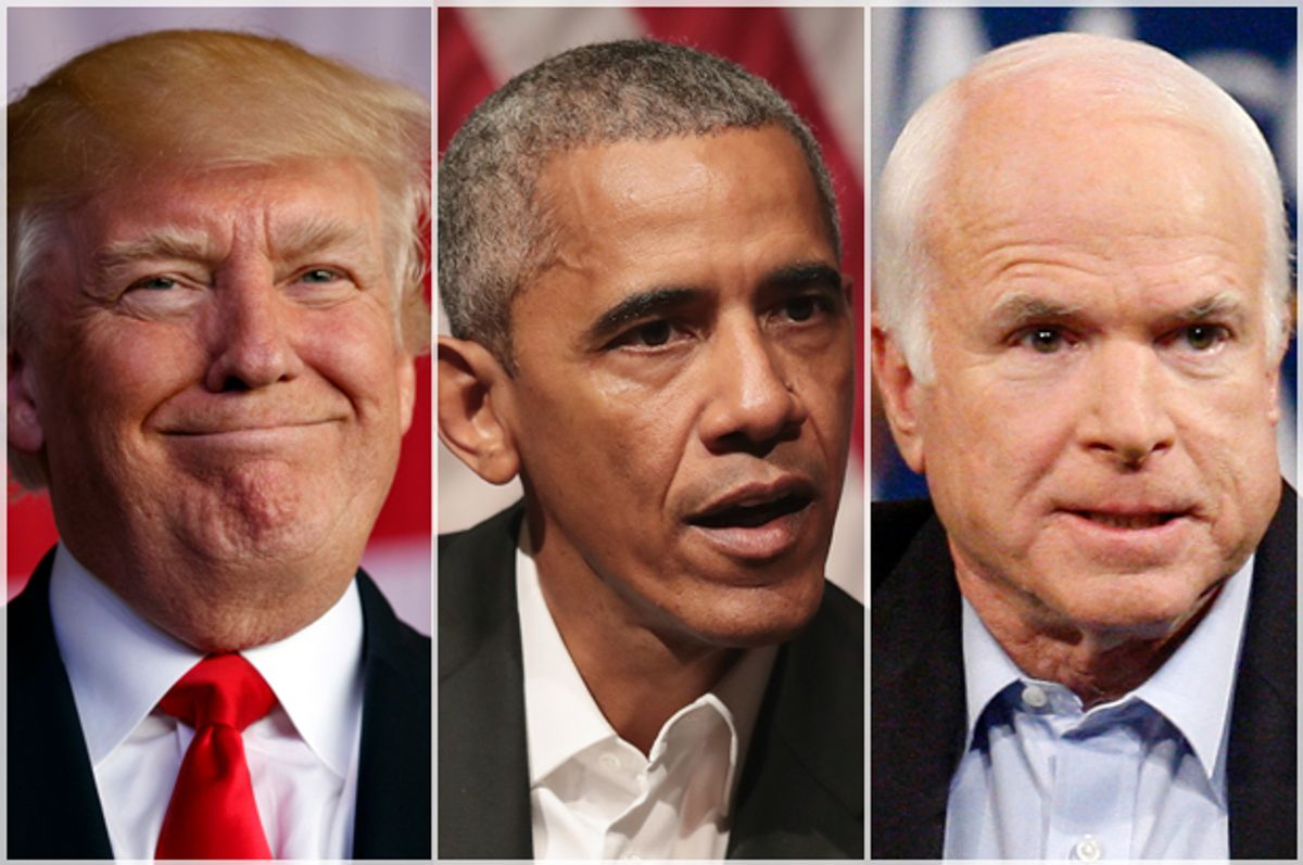 Donald Trump; Barack Obama; John McCain   (AP/Evan Vucci/Isaac Brekken/Getty/Scott Olson)