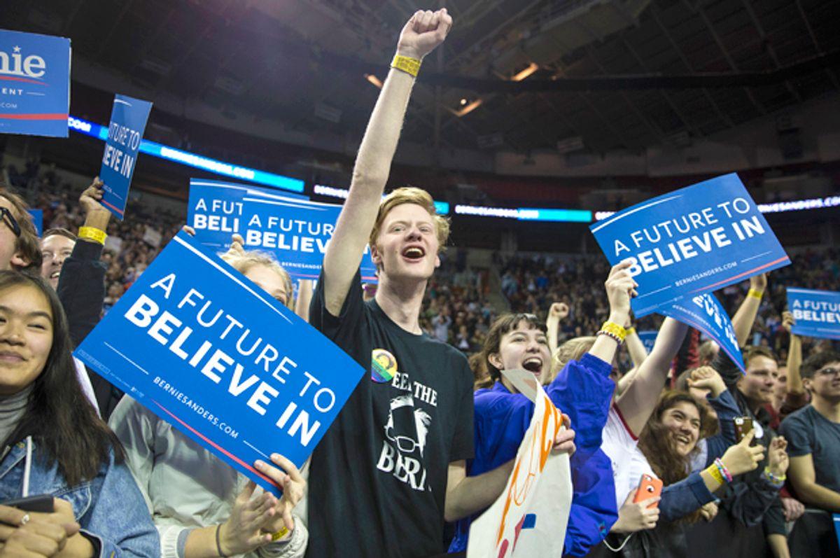 Campaign rally for democratic socialist Bernie Sanders (AP/Stephen Brashear)