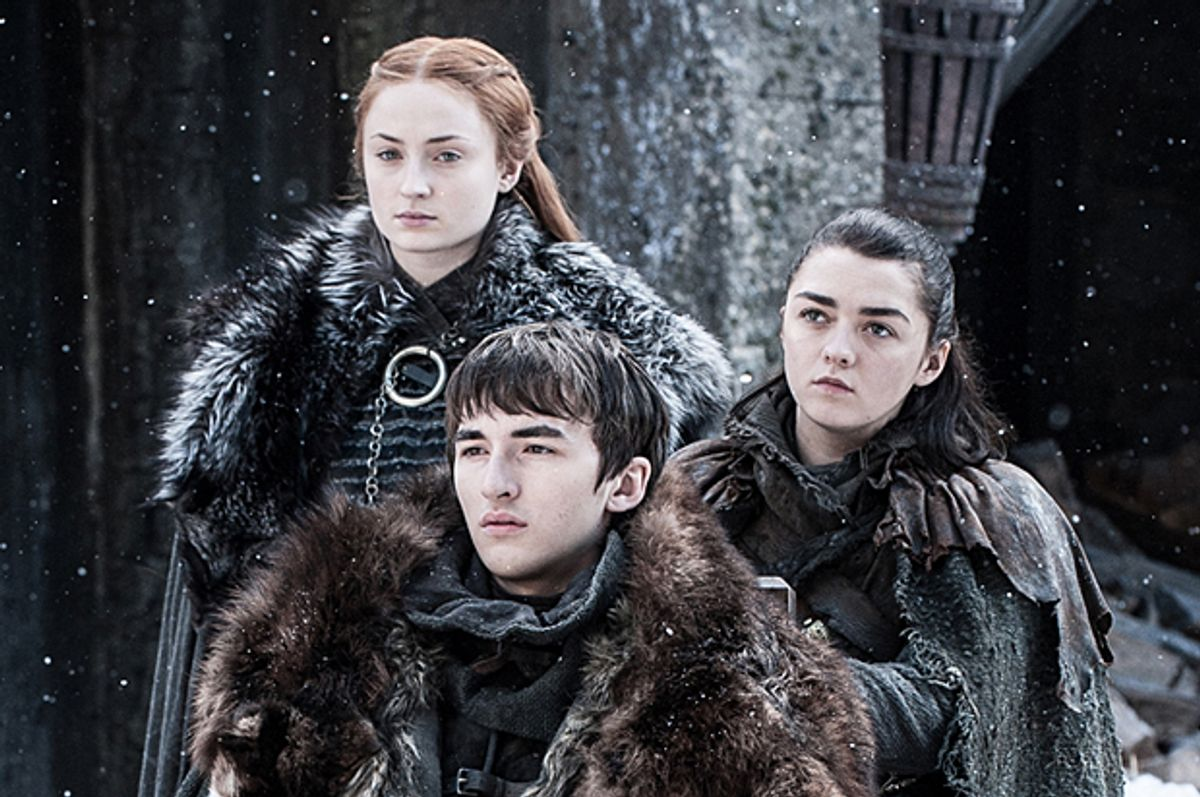 """Sophie Turner, Isaac Hempstead Wright, and Maisie Williams in """"Game of Thrones"""" (HBO/Helen Sloan)"""