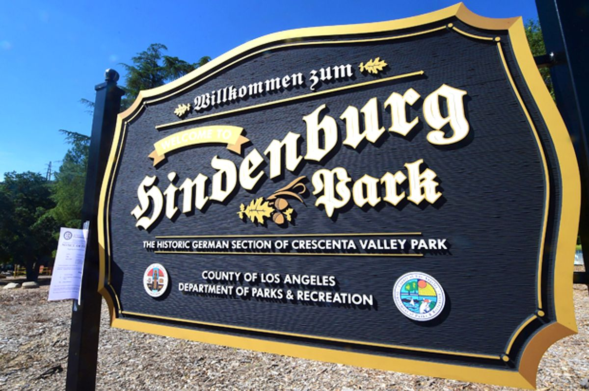 Hindenburg Park sign at Crescenta Valley Park in La Crescenta, Los Angeles CountyIt is two days before a public hearing scheduled on April 7, 2016 regarding the sign, which was sparked controvesy after it was erected last month because the location was the site of Nazi rallies and a Nazi youth camp during the 1930s. / AFP / FREDERIC J. BROWN        (Photo credit should read FREDERIC J. BROWN/AFP/Getty Images) (Getty/Frederic J. Brown)
