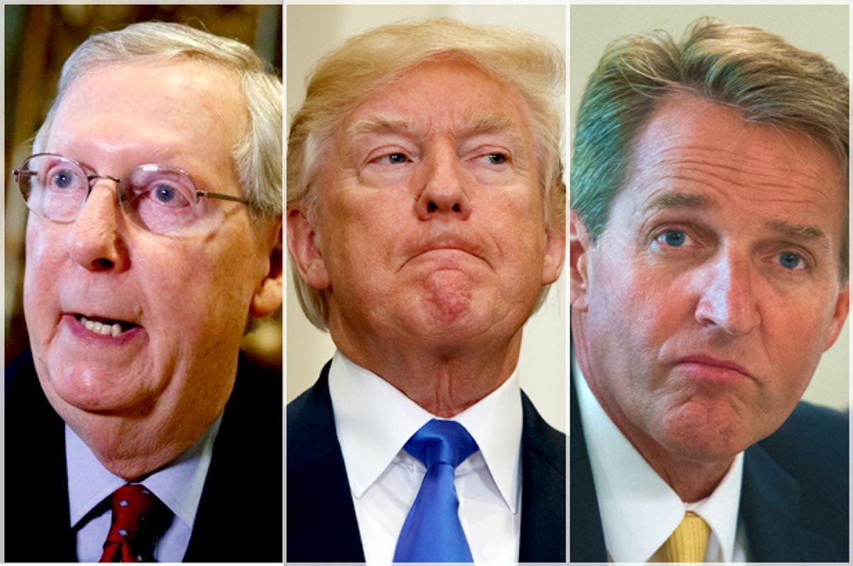 Mitch McConnell; Donald Trump; Jeff Flake   (AP/Evan Vucci/Getty/Michael Reynolds)