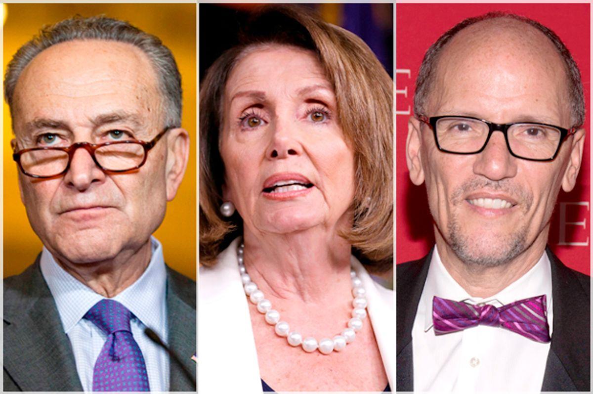 Chuck Schumer; Nancy Pelosi; Tom Perez   (Getty/Zach Gibson/Chip Somodevilla/AP/Charles Sykes)