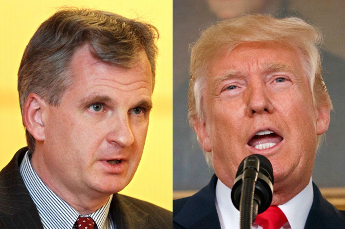 Timothy Snyder; Donald Trump   (AP/Virginie Lefour/Evan Vucci)