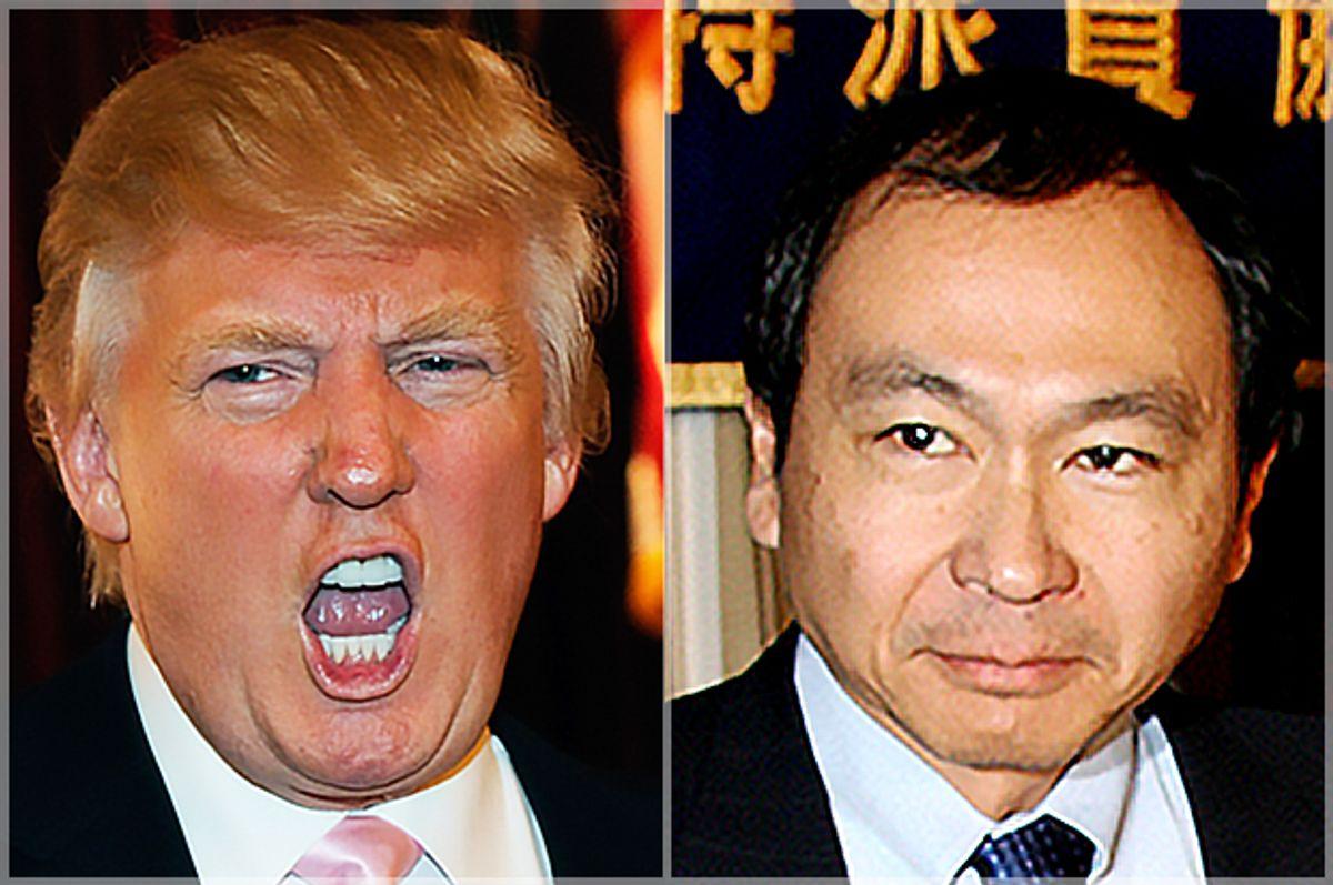 Donald Trump and Francis Fukuyama (Getty/David Becker/YOSHIKAZU TSUNO)