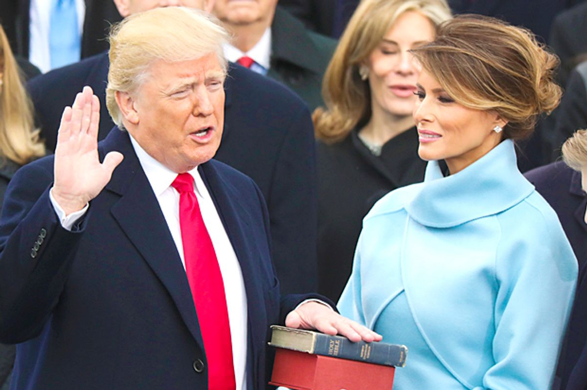 Donald Trump is sworn in as the 45th president of the United States as Melania Trump (AP/Andrew Harnik)