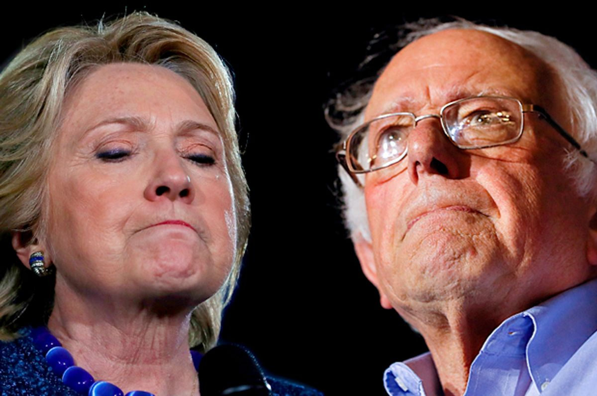 Hillary Clinton;Bernie Sanders   (Getty/Justin Sullivan/AP/John Minchillo)