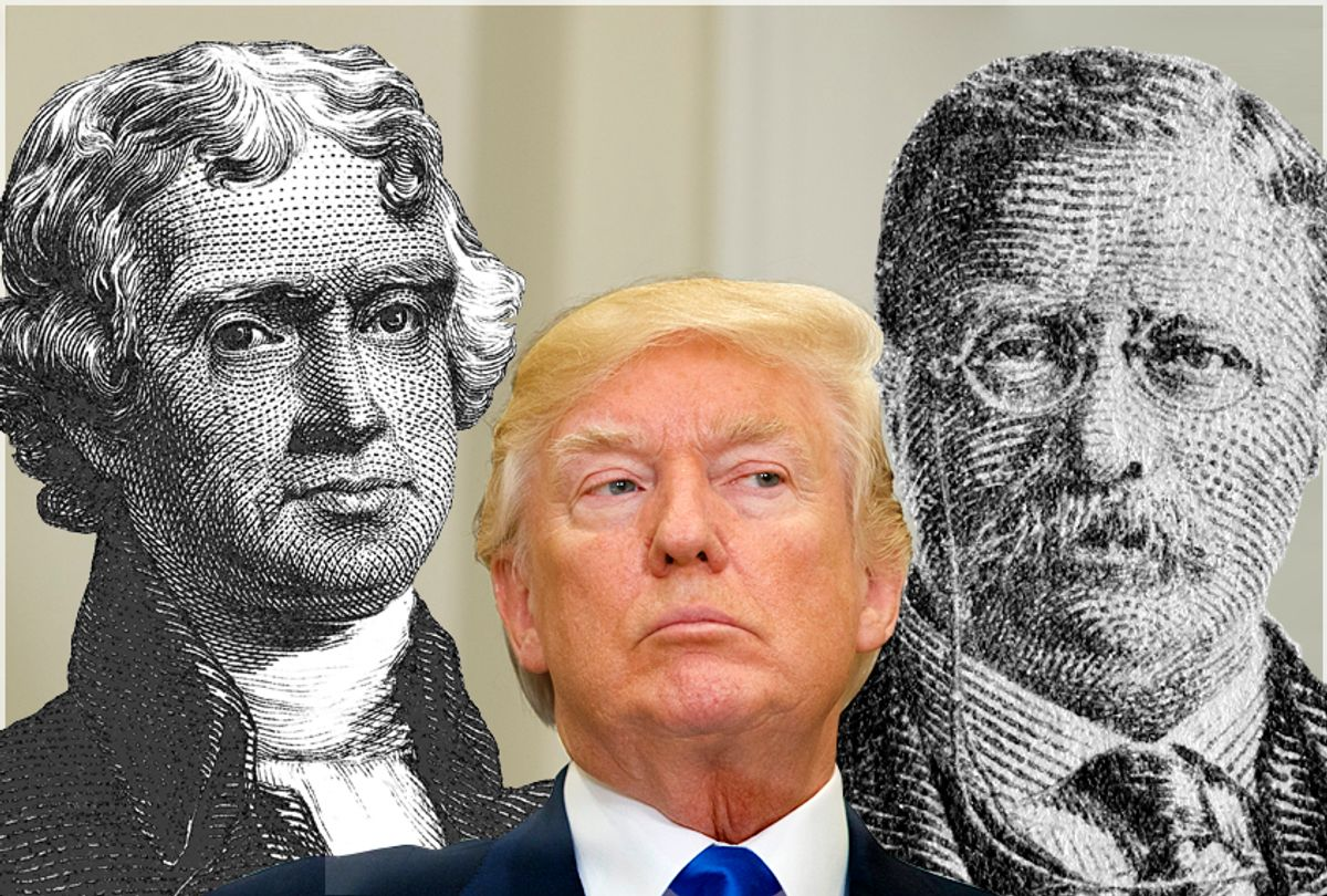 Thomas Jefferson; Donald Trump; Teddy Roosevelt (AP/Evan Vucci/Getty/AlexLMX/peterspiro)