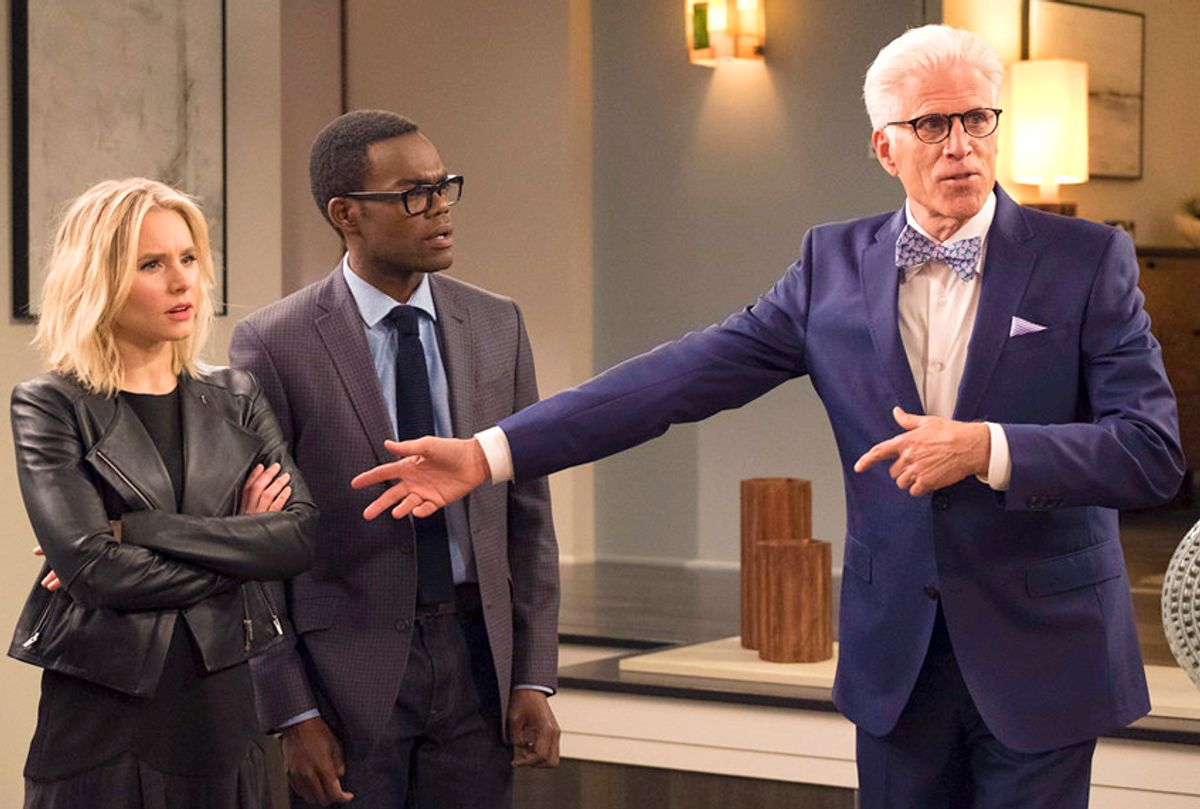 """Kristen Bell, William Jackson Harper, and Ted Danson  on """"The Good Place"""" (NBC/Colleen Hayes)"""