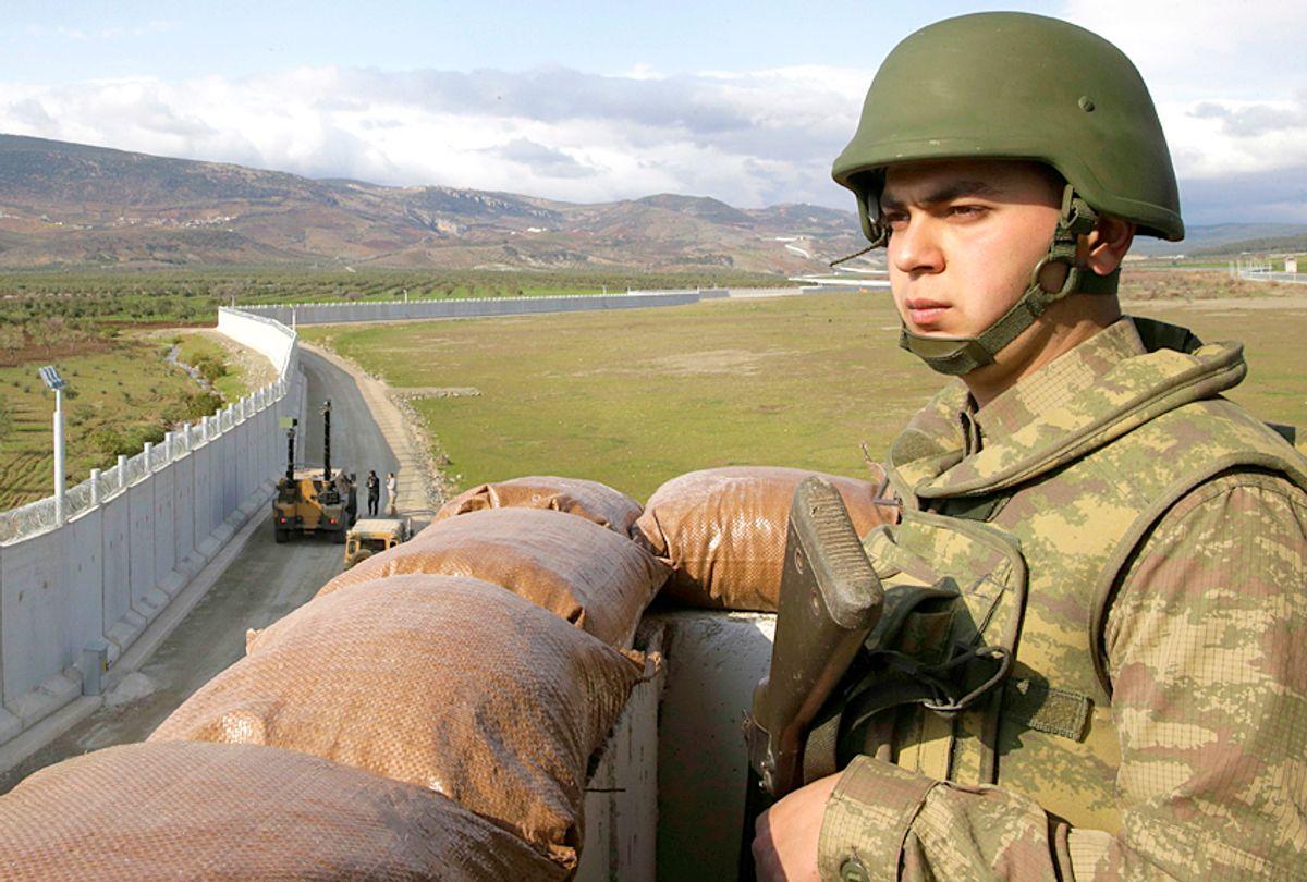 Turkish army soldier mans an outpost (AP/Lefteris Pitarakis)
